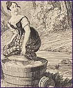 Woman standing in a wooden tub