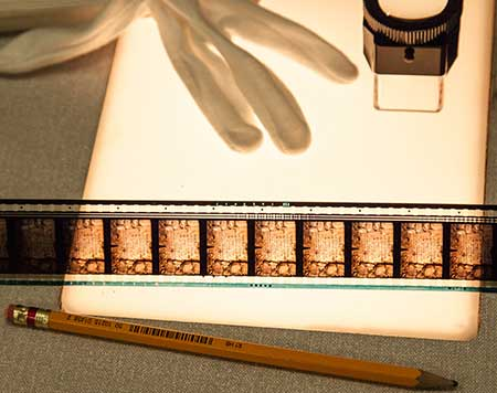 Part of film strip on a lightbox