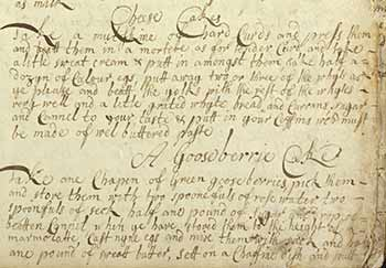 Handwritten recipes from Janet Maule's 1701 recipe book