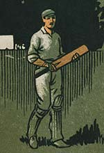 Drawing of a man playing cricket