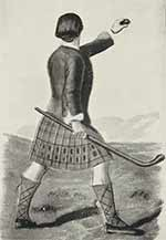 Drawing of a shinty player