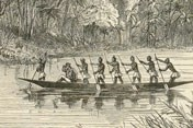 Engraving of men in boat on river