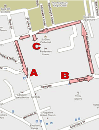 Street map showing evacuation route